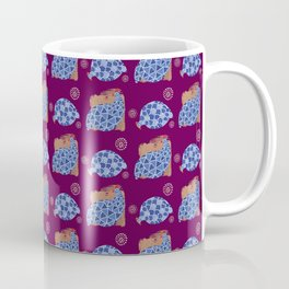 blue birds pattern on gold and purple Coffee Mug