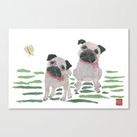 pugs Canvas Prints featuring PUGS by Bless Hue