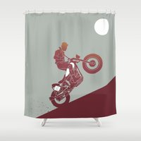 grease Shower Curtains featuring slut by The Junkers