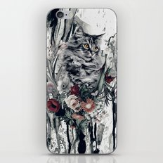 Cat in flowers iPhone & iPod Skin