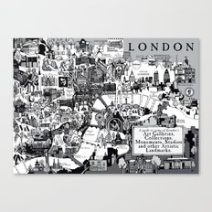 Map of London Art Landmarks Canvas Print