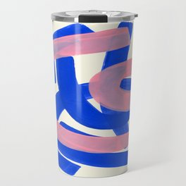 Tribal Pink Blue Fun Colorful Mid Century Modern Abstract Painting Shapes Pattern Travel Mug