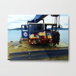 Old boat crane, opposite St. Tropez sur Camping de la Plage et la Mure in Grimaud Metal Print