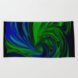 Blue and Green Wave Beach Towel