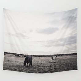 Horses in a Field in Black and White Wall Tapestry