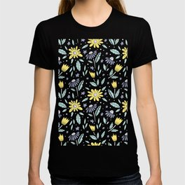 teal, grey flora and yellow flowers T-shirt