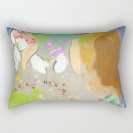 """Odilon Redon """"Profile of a Woman in the Window"""" Rectangular Pillow"""