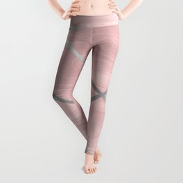 Modern Pink & Silver Line Art Leggings