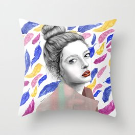 Girl with Feather Pattern / Pencil drawing + Watercolor Throw Pillow