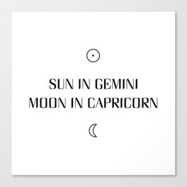 Gemini/Capricorn Sun and Moon Signs Canvas Print