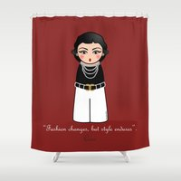 coco Shower Curtains featuring Kokeshi Coco by Pendientera
