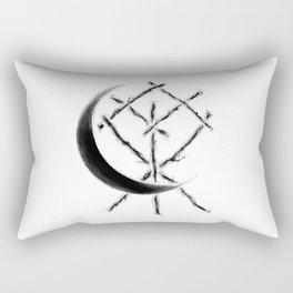 Crescent Moon Rune Binding at Midnight Rectangular Pillow