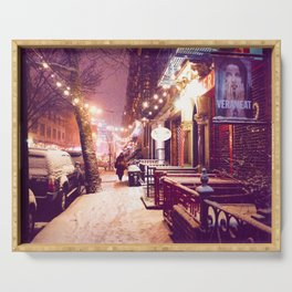 Winter Night with Snow in the East Village New York City Serving Tray