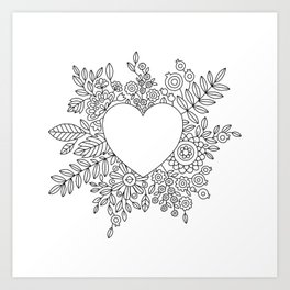 Flourishing Heart Adult Coloring Illustration, Heart and Flowers Wreath Art Print