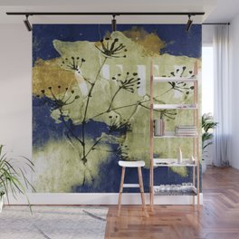plant on blue wall Wall Mural