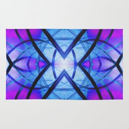 Futuristic Abstract Art Blue and Purple Rug