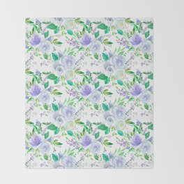 Elegant lilac purple green watercolor hand painted floral Throw Blanket