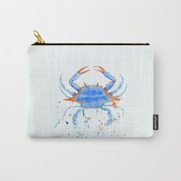 Watercolor blue crab paint splatter Carry-All Pouch
