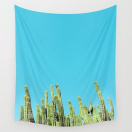 Desert Cactus Reaching for the Blue Sky Wall Tapestry