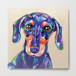 Peanut - Daschund Sausage Dog Art Metal Print