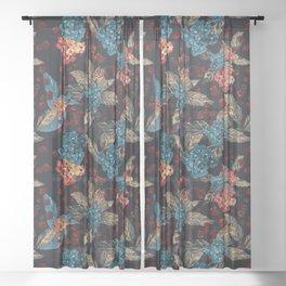 Deep moody floral watercolor - dark red,  rich dark blue and brown Sheer Curtain