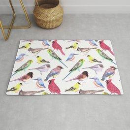 Watercolor spring birds Rug