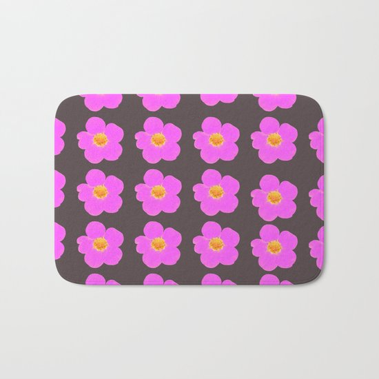 Tiny pink retro flowers on a dark grey background - #Society6 #buyart Bath Mat