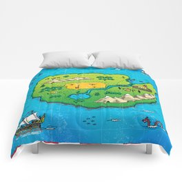 Old pirate's map Comforters