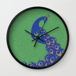 Colorful Peacock Art Print With Mandala Design Background Wall Clock