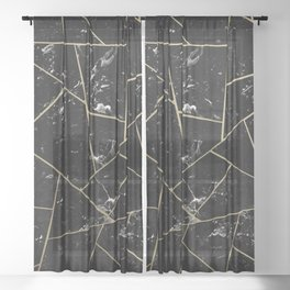 Black Marble Gold Geometric Glam #1 #geo #decor #art #society6 Sheer Curtain