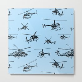 Helicopters on Sky Blue Metal Print