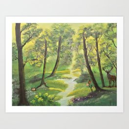 Happy forest with animals Art Print