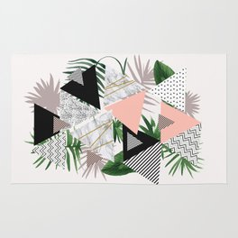 Abstract of geometric patterns with plants and marble Rug