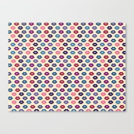 Retro Lips Pattern Canvas Print