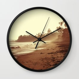 Vintage Retro Sepia Toned Coastal Beach Print Wall Clock