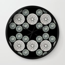 Silver and Black Mandala Circles Wall Clock