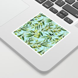 mediterranean summer olive branches on turquoise Sticker