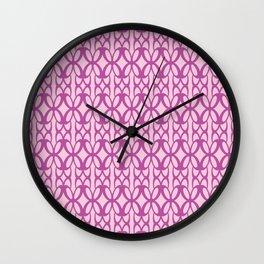 Mod Geometric Floral in Pink Wall Clock