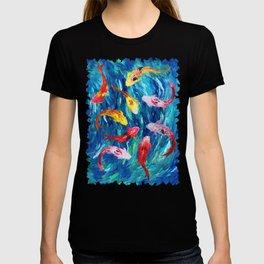 Koi fish rainbow abstract paintings T-shirt