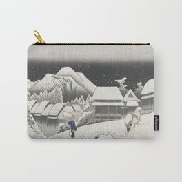 Kanbara Station - Vintage Japan Woodblock Carry-All Pouch