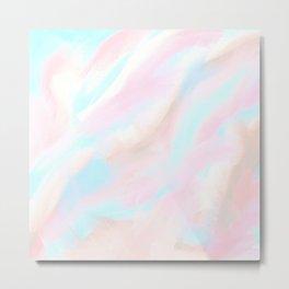 Hand painted pastel pink coral aqua watercolor marble Metal Print