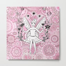 Beautiful fairy on swing Metal Print