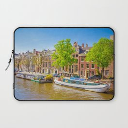 Amsterdam Netherlands Canal Riverboat Marinas Houses Cities Pier Berth Building Laptop Sleeve