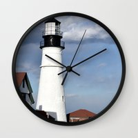 maine Wall Clocks featuring Coastal Maine by Jessi Trafton