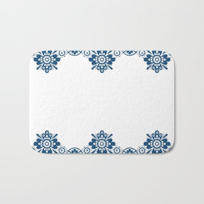 Blue lace on white background . Bath Mat