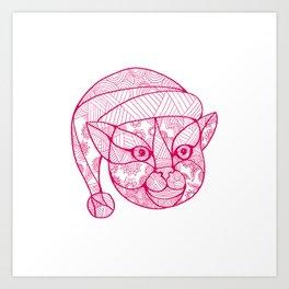 Cat Wearing Santa Hat Mandala Art Print