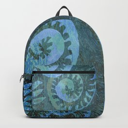 Blue Green River Foam + Watercolor Plants  Backpack