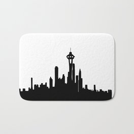 Seattle City Skyline in Black and white Bath Mat