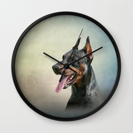 Drawing Doberman dog 2 Wall Clock