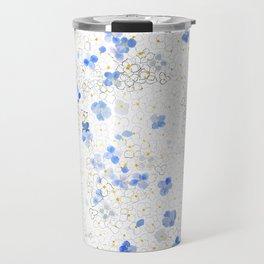 blue abstract hydrangea pattern Travel Mug